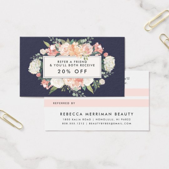Antique Floral Blush & Navy Referral Business Card