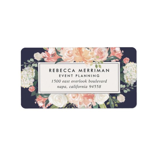 Antique Floral Blush & Navy Return Address Label