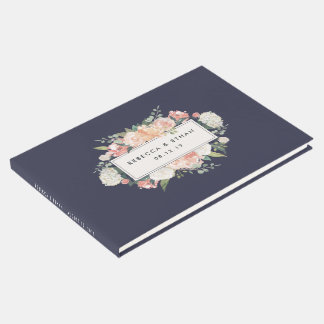Antique Floral | Blush & Navy Wedding Guest Book
