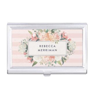 Antique Floral Blush Pink Stripe Business Card Holder