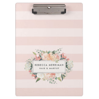 Antique Floral Blush Pink Stripe Clipboard