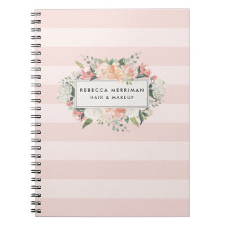 Antique Floral Blush Pink Stripe Notebooks