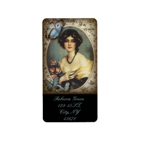 Antique Floral Butterfly Old fashion Paris Lady Address Label