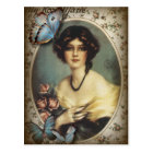 Antique Floral butterfly parisian girl victorian Postcard