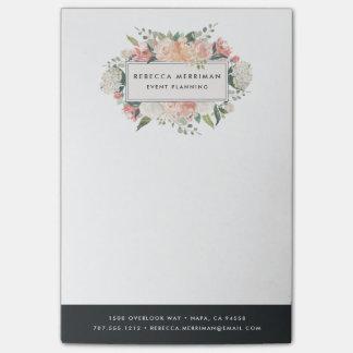 Antique Floral | Charcoal Stripe Post-it Notes