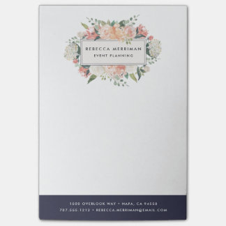 Antique Floral | Midnight Blue Stripe Post-it Notes