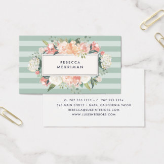 Antique Floral & Sage Stripe Business Card