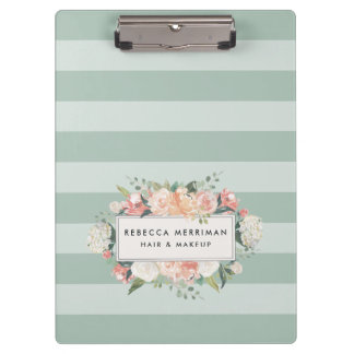 Antique Floral Sage Stripe Clipboard