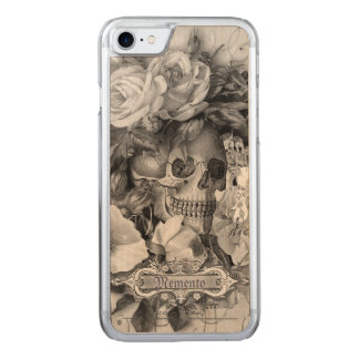Antique Floral Skull Black & White Carved iPhone 8/7 Case
