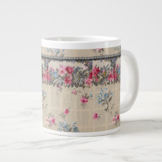 Antique Floral Wallpaper Giant Coffee Mug
