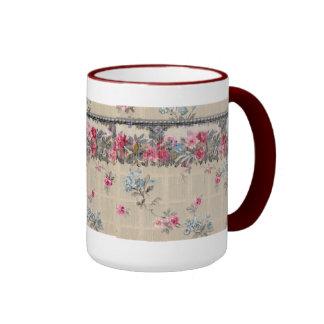 Antique Floral Wallpaper Ringer Mug