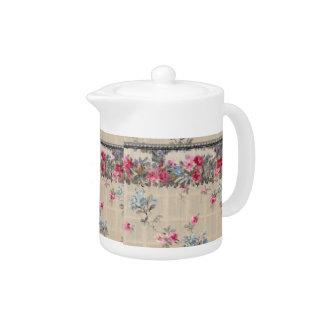 Antique Floral Wallpaper Tea Pot