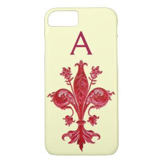 ANTIQUE FLORENTINE RED LILY,FLEUR DE LIS, Monogram iPhone 8/7 Case