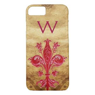 ANTIQUE FLORENTINE RED LILY FLEUR DE LIS PARCHMENT iPhone 8/7 CASE