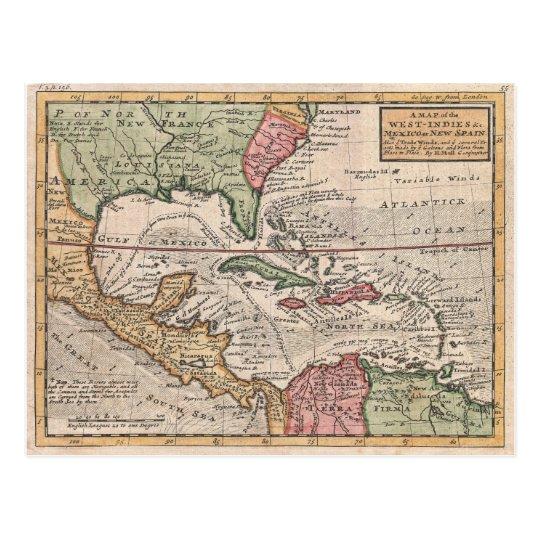 Antique Florida and Caribbean Map Postcard