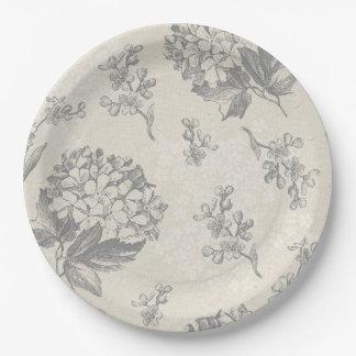 Antique Flower Pattern 9 Inch Paper Plate