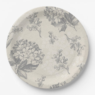 Antique Flower Pattern Paper Plate
