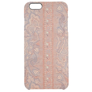Antique Flowers Lace Pattern Brown Rose Gold Color Clear iPhone 6 Plus Case