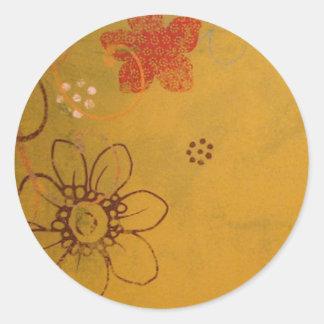 Antique Flowers Round Sticker