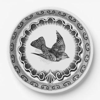Antique Flying Vintage Bird 9 Inch Paper Plate
