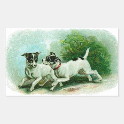 Antique Fox Terrier Illustration Rectangular Sticker
