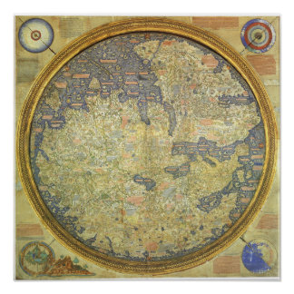 Antique Fra Mauro Map Asia Africa Europe Poster