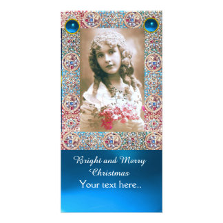 ANTIQUE FRAME,ANGELS,PRECIOUS JEWELS,BLUE GEMS CUSTOMIZED PHOTO CARD