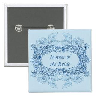 Antique Frame Blue Wedding Role Button