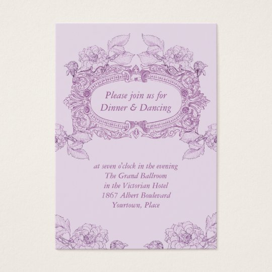 Antique Frame Lilac Wedding Reception Card