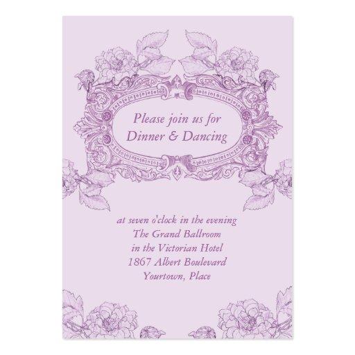 Antique Frame Lilac Wedding Reception Card Business Cards