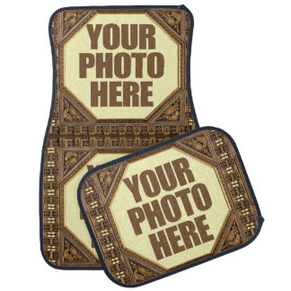 Antique Frame with YOUR 3 PHOTOS car floor mats