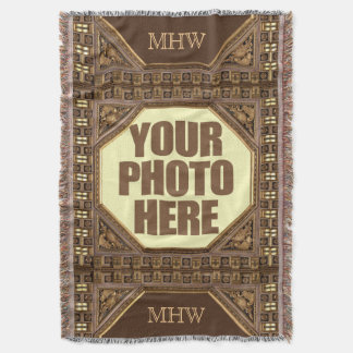 Antique Frame with YOUR PHOTO & monogram blanket