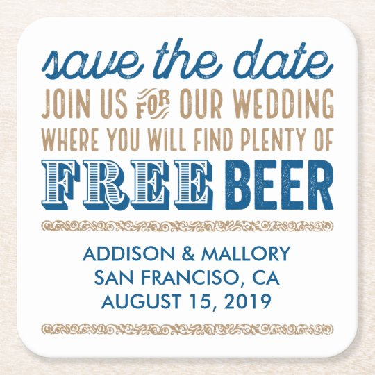 Antique Free Beer Save the Date Square Paper