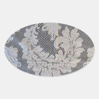 Antique French Alencon Lace Oval Sticker