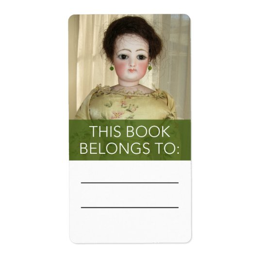 Antique French Fashion Doll Bookplate Sticker Shipping Label
