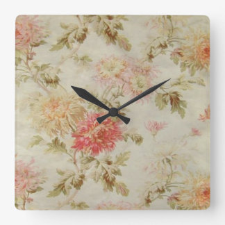 Antique French Floral Toile Square Wall Clock