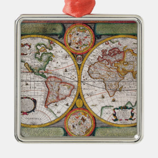 Antique French Map of The World Christmas Ornament