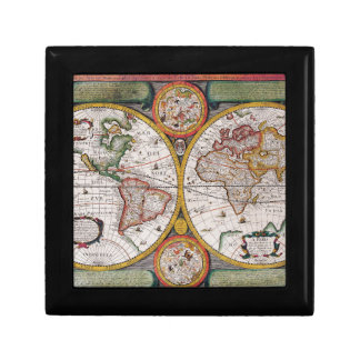 Antique French Map of The World Small Square Gift Box