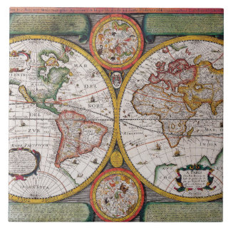 Antique French Map of The World Tile