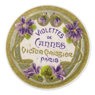 Antique French Perfume Violet Blossoms Drawer Pull