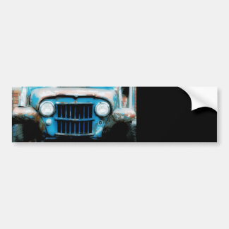 Antique Front Grille and Headlights Bumper Sticker