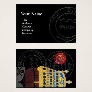 ANTIQUE GALLEON,PIRATE TREASURE MAPS Black Business Card