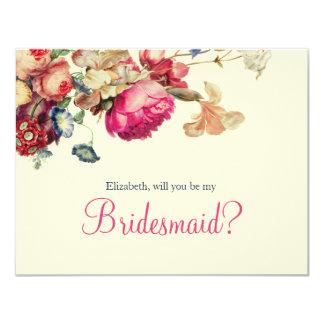 Antique Garden | Custom Will you be my Bridesmaid 11 Cm X 14 Cm Invitation Card