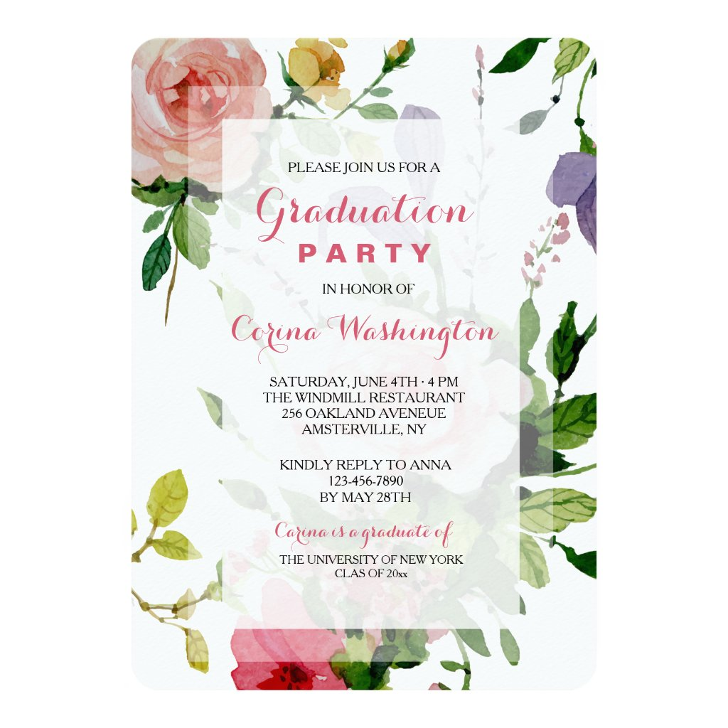 Antique Garden Graduation Party Invitation