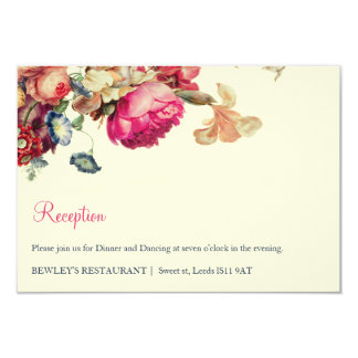 Antique Garden | Vintage Wedding Reception Card 9 Cm X 13 Cm Invitation Card