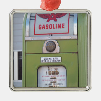 Antique Gas Pump Silver-Colored Square Decoration