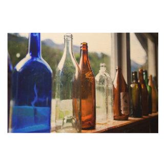 Antique Glass Bottles Wood Print