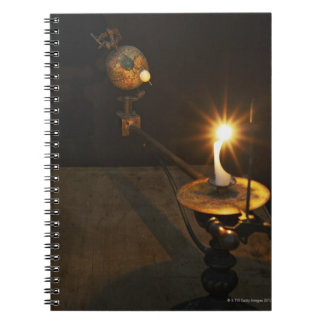Antique globe and candle solar system model notebooks