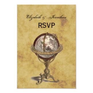 Antique Globe, Distressed BG RSVP 9 Cm X 13 Cm Invitation Card