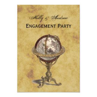 Antique Globe, Distressed BG V Engagement 13 Cm X 18 Cm Invitation Card